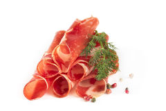 Thinly sliced ​​ham Stock Photos