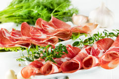 Thinly sliced ​​ham Stock Photo
