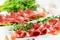 Thinly sliced ham Stock Photo