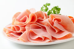 Thinly sliced ham Stock Photos