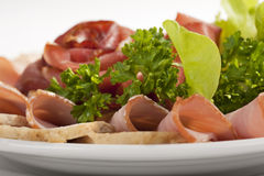 Thinly sliced meat Royalty Free Stock Photo
