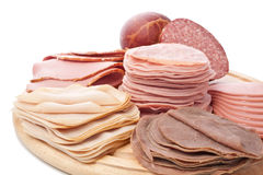 Thinly sliced meat on white background Royalty Free Stock Photography