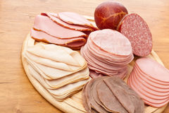 Thinly sliced meat on white background Royalty Free Stock Photos