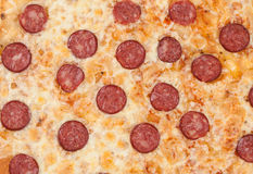 Thinly sliced pepperoni is a popular pizza as background Royalty Free Stock Photos