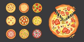 Thinly sliced pepperoni is a popular pizza. Italian cook and pizzas delivery. Thinly sliced pepperoni is a popular pizza. Italian cook and pizzas delivery vector illustration