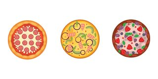 Thinly sliced pepperoni is a popular pizza. Italian cook and pizzas delivery. Royalty Free Stock Photography