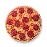 Thinly sliced pepperoni is a popular pizza topping in American-style pizzerias stock photos