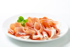 Thinly sliced prosciutto Royalty Free Stock Photography