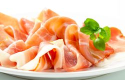 Thinly sliced prosciutto Stock Photos