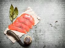 Thinly sliced salmon . Royalty Free Stock Photography