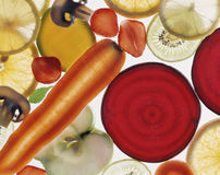 Thinly sliced transparent vegetables Stock Image