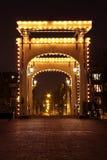 thiny阿姆斯特丹桥梁荷兰的晚上 库存图片