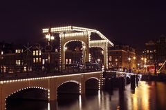 Thiny Brücke in Amsterdam die Niederlande Lizenzfreies Stockfoto