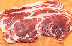 Thiny Sliced Spanish Jamon Royalty Free Stock Image
