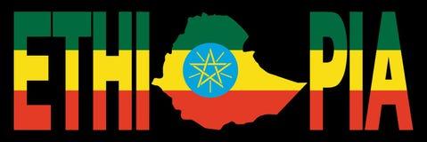 Äthiopien-Text mit Karte Stockfotos
