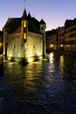 Thiou river and Palais at night Royalty Free Stock Photography