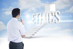 Éthique contre des étapes menant à la porte ouverte dans le ciel Photographie stock