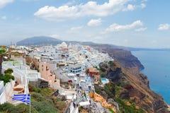 Thira, the capital of Santorini island royalty free stock images