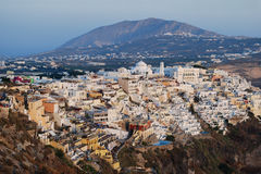 Thira city view. Photo of typical buildings in Santorini Island, Thira, Greece Royalty Free Stock Images