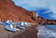 thira för santorini för strandgreece ö röd Arkivfoton