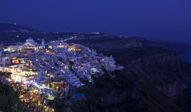 Thira by Night. A shot of the Town of Thira the capital of Santorini taken at night Stock Image
