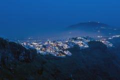 Thira on Santorini at blue night Royalty Free Stock Photography