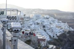 Thira, Santorini - panoramic view. Panoramic view Traditional famous white houses and churches in Thira town on Santorini island royalty free stock photography