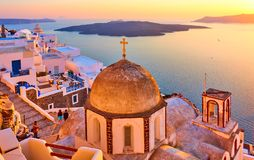 Thira town and Aegean sea at sundown Royalty Free Stock Photography