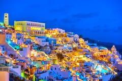 Thira town at night Stock Image