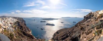 Thira village - Aegean sea - Santorini island - Greece. View of Thira village - Aegean sea - Santorini island - Greece royalty free stock image
