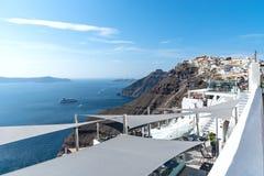 Thira village - Aegean sea - Santorini island - Greece. View of Thira village - Aegean sea - Santorini island - Greece stock images