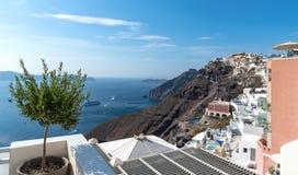 Thira village - Aegean sea - Santorini island - Greece. View of Thira village - Aegean sea - Santorini island - Greece stock photos