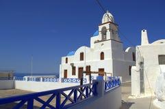 Thirassia海岛教会,希腊 库存照片