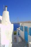 Thirassia海岛建筑学,希腊 免版税图库摄影
