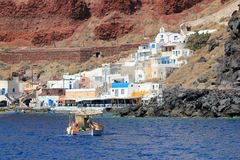 Thirassia harbor, Santorini, Greece Royalty Free Stock Image
