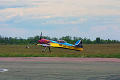 Third AirFestival at Chaika airfield. The plane is ready to take off stock photo