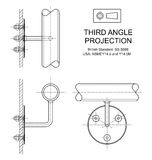 Third Angle Orthographic Projection. Example of third angle orthographic projection drawing using handrail wall fixing assembly Royalty Free Stock Image