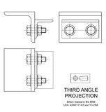 Third Angle Orthographic Projection. Example of third angle orthographic projection drawing using rolled steel angle assembly Stock Photography