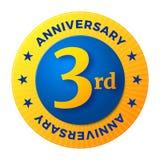 Third Anniversary badge, gold celebration label Stock Photos
