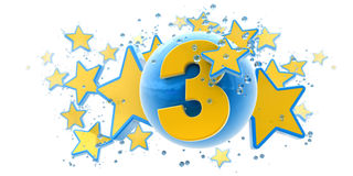 Third anniversary blue and yellow Stock Images