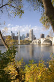 Third Avenue Bridge into Downtown Minneapolis. Along the shores of Mississippi River in Saint Anthony area of Minneapolis Minnesota royalty free stock photography