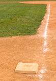 Third base and chalk base path to home plate Stock Photos
