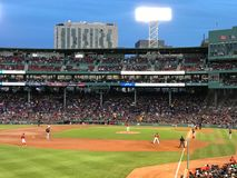 Third Base Line at Fenway Park, Boston, MA Stock Images