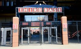 Third Base Sign at the Ballpark Village, Downtown St. Louis Stock Photo