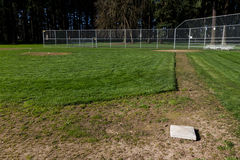 Third Base. View from third base of little league baseball field Royalty Free Stock Images