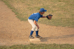 Third Baseman in Baseball. Getting ready to catch ball Royalty Free Stock Photography