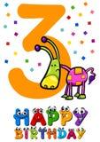 Third birthday card design Royalty Free Stock Photography