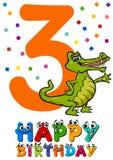 Third birthday cartoon card. Cartoon Illustration of the Third Birthday Anniversary Design for Child Boy Stock Photos