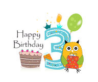Third birthday greeting card. Cute owl, balloon and birthday cake vector background Stock Image