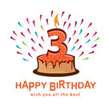 Third birthday illustration Royalty Free Stock Photography